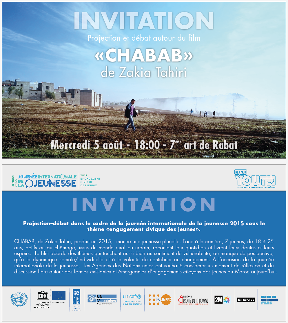"Invitation of the movie projection and debate ""Chabab"""
